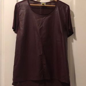 Faux Leather front T-shirt